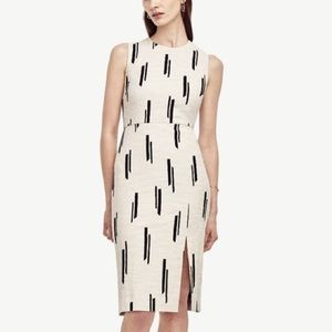Ann Taylor Dash Print Ivory Linen Sheath Dress NWT